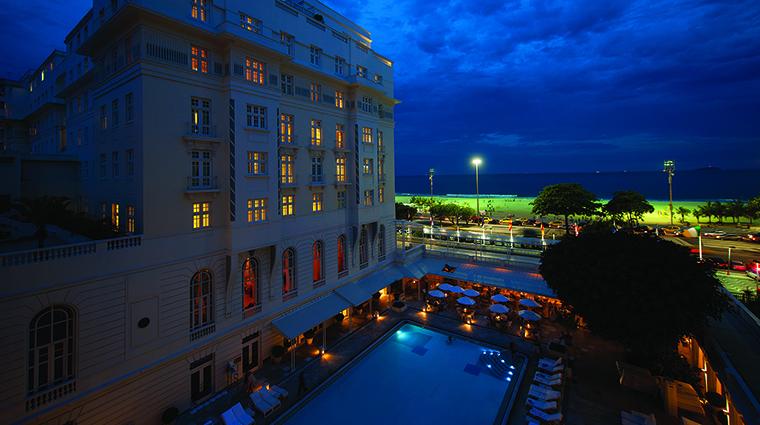 Property BelmondCopacabanaPalace Hotel PublicSpaces SwimmingPoolNightTime BelmondManagementServicesSARL