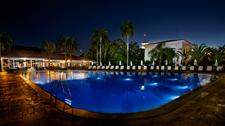 Property BelmondHoteldasCataratas Hotel PublicSpaces SwimmingPoolatNight BelmondManagementLimited