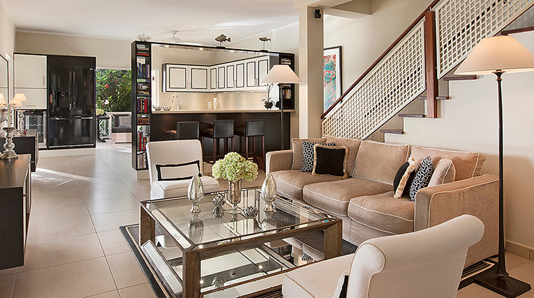 Property FourSeasonsResortNevis Hotel GuestroomSuite PalmGroveVillaLivingRoom&Kitchen FourSeasonsHotelsLimited