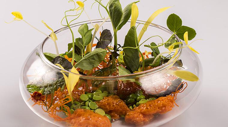 Property LeCirqueLasVegas Restaurant Dining ChilledEnglishPeasVelouteCarrotNest MGMResortsInternational