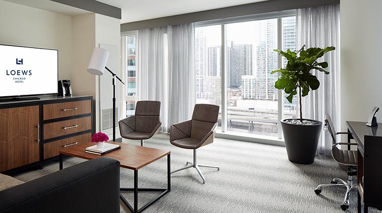 Property LoewsChicagoHotel Hotel GuestroomSuite LakeViewSuiteParlor LoewsHotelsResorts