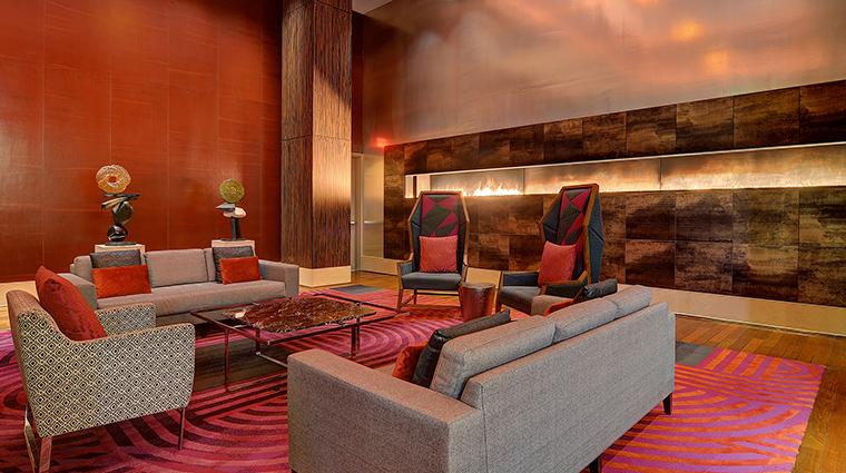 Property MGMGrandDetroit Hotel PublicSpaces LivingRoomFireplace MGMResortsInternational