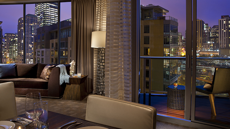Property PanPacificSeattle Hotel GuestroomSuite BalconySuiteLivingRoom PanPacificHotelsandResorts