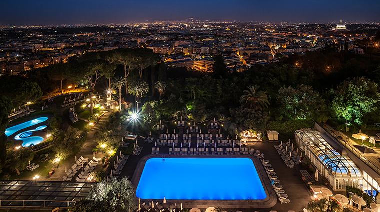 Property RomeCavalieri Hotel Exterior NightTimeAerialView HiltonWorldwide