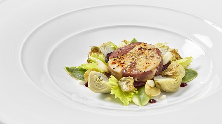 Property Sixteen Restaurant Dining FoieGras&SquabwithSourCherryArtichoke&Almond TrumpInternationalHotel&TowerChicago
