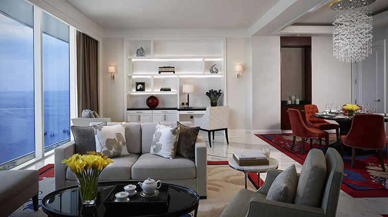 Property SkyToweratSolaireManila Hotel GuestroomSuite PrestigeSuiteKingBayViewLivingRoom SolaireResort&Casino