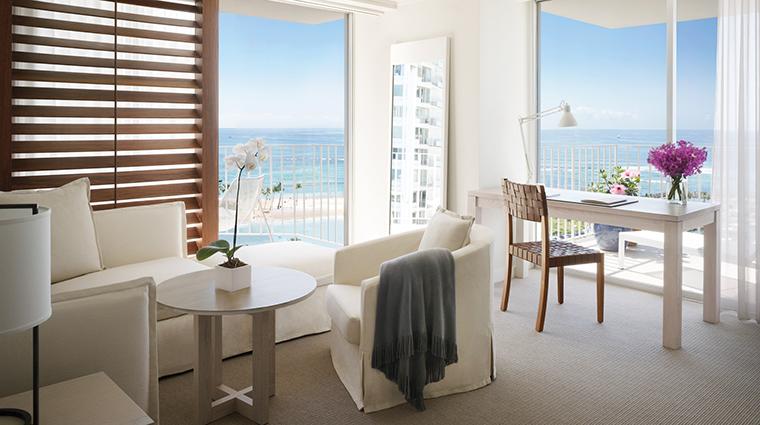 Property TheModernHonolulu Hotel 13 GuestroomSuite OceanFrontSuite LivingRoom CreditTheModernHonolulu