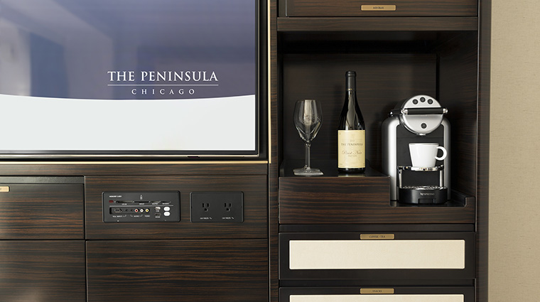 Property ThePeninsulaChicago Hotel GuestroomSuite NespressoMachine ThePeninsulaHotels