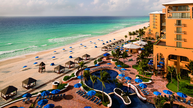 Property TheRitzCarltonCancun Hotel PublicSpaces AerialBeach&PoolView TheRitzCarltonHotelCompanyLLC