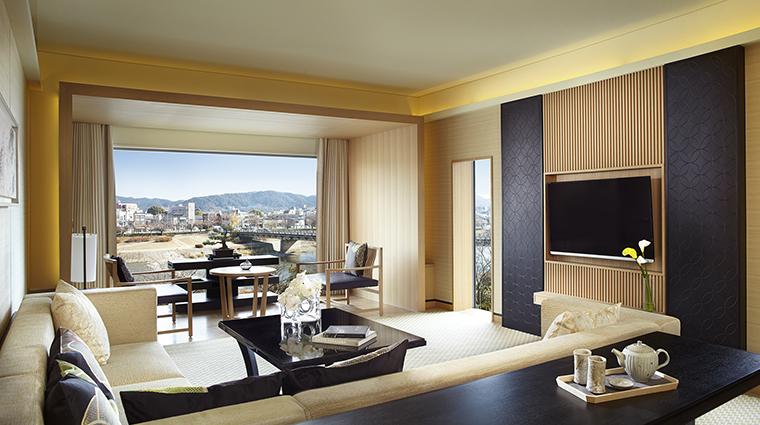 Property TheRitzCarltonKyoto Hotel GuestroomSuite SuiteKAMOGAWALivingRoom TheRitzCarltonHotelCompanyLLC