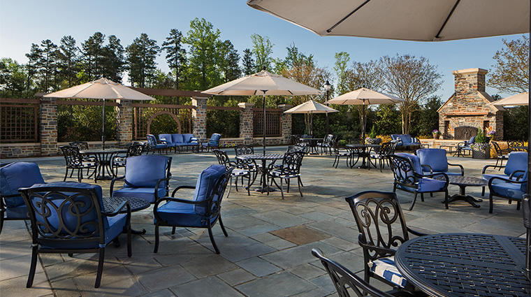 Property WashingtonDukeInn Hotel Dining OutsideBlueChairsPresidTerrace WashingtonDukeInn