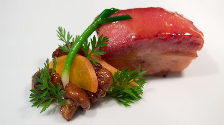 PropertyImage Aubergine Restaurant Food porkbellychanterellepickledapricot CreditLAubergeCarmel