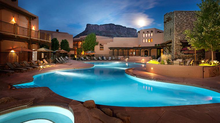 PropertyImage GatewayCanyonsResort Hotel Exterior EveningPool CreditNobleHouseHotelsandResorts