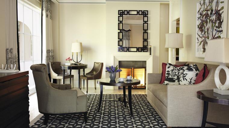 PropertyImage HotelBelAir LosAngeles Hotel GuestRoomSuites BelAirSuiteWithPatioLivingRoom CreditDorchesterCollection