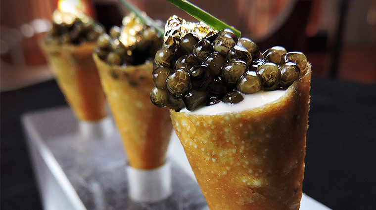 SLS South Beach Bazaar Restaurant caviar cone