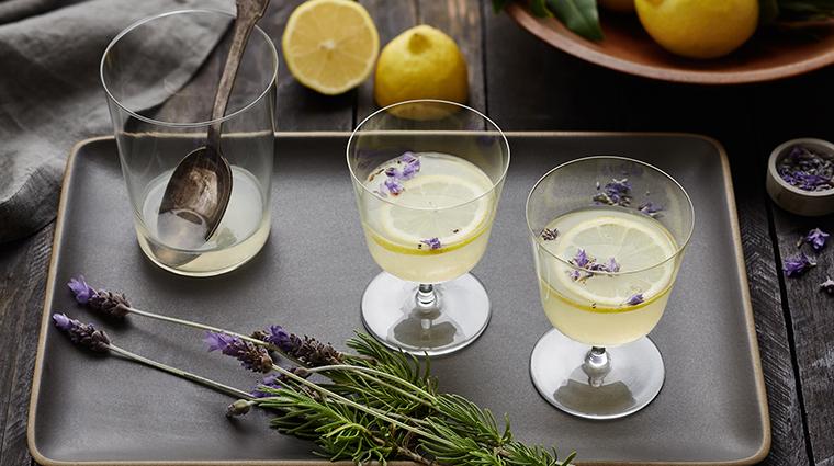 Spa at Carneros Inn lemon lavender drink