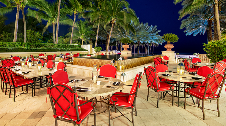 acqualina resort and residences on the beach Ke uh Dining terrace no lights
