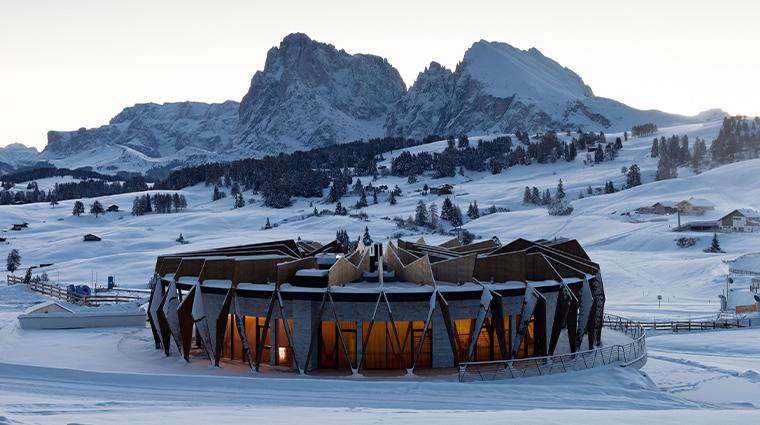 alpina dolomites chalet exterior winter