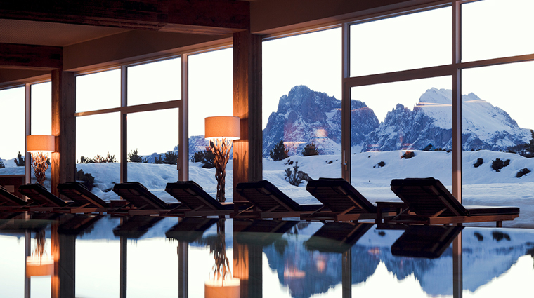 alpina dolomites view from indoor pool
