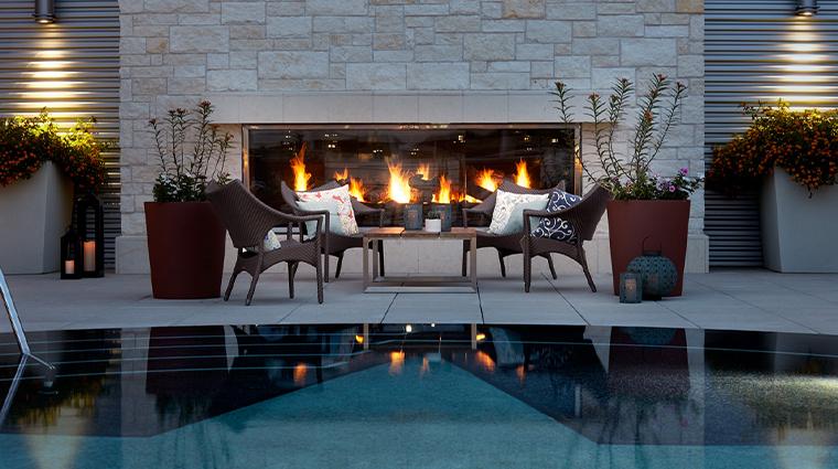 archer hotel austin pool patio fireplace