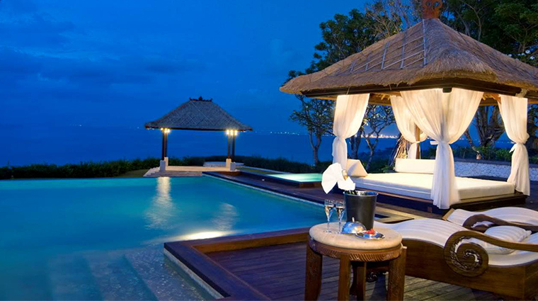 ayana resort and spa bali villa swimming pool night