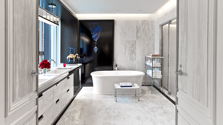 baccarat hotel and residences suite master bathroom