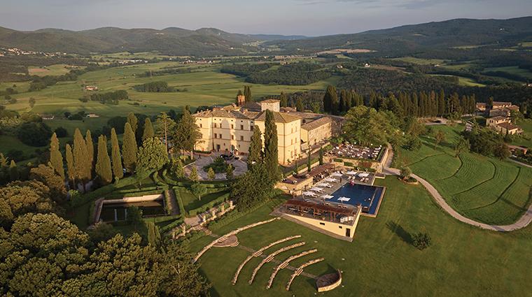 belmond castello di casole aerial closer
