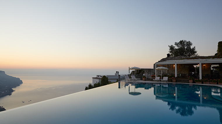 belmond hotel caruso pool sunset