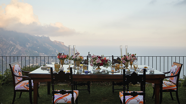 belmond hotel caruso table setup