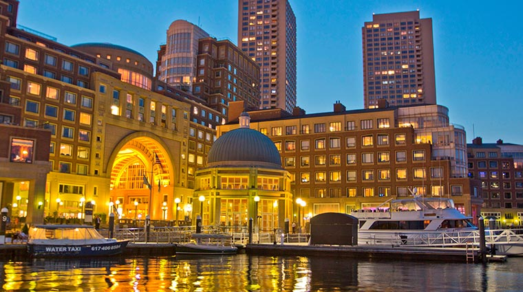 boston harbor hotel exterior night