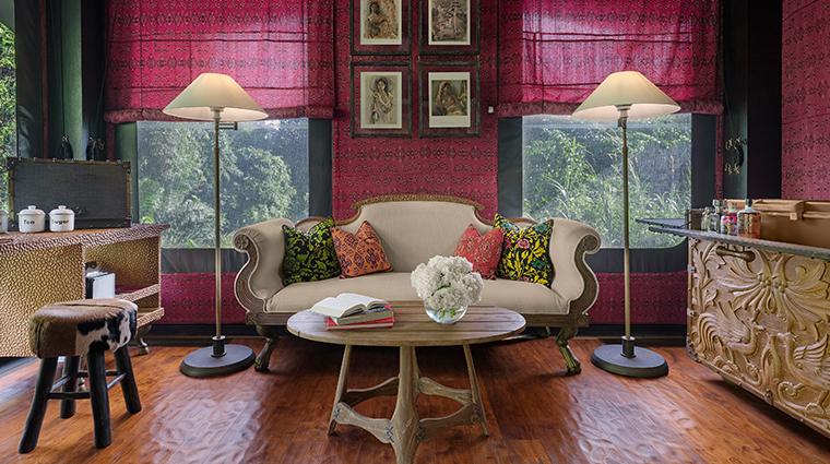 capella ubud bali river tent living room