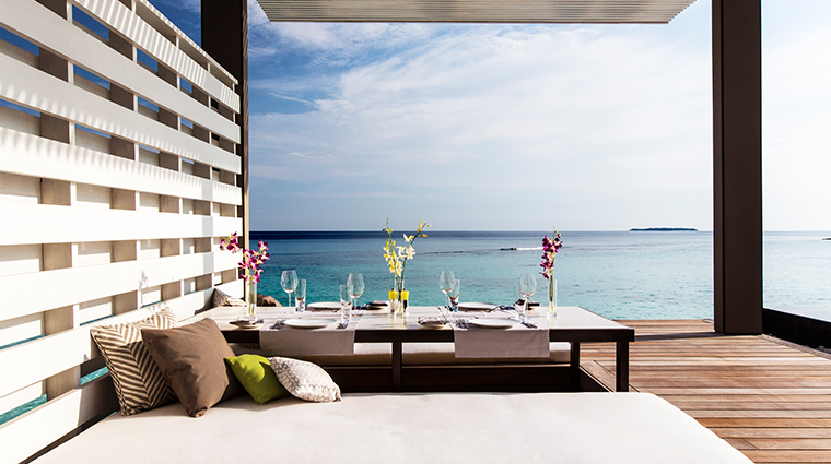 cheval blanc randheli water villa outdoor dining