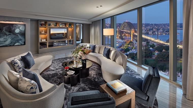 crown towers sydney Premier Harbour Bridge Suite Living Room
