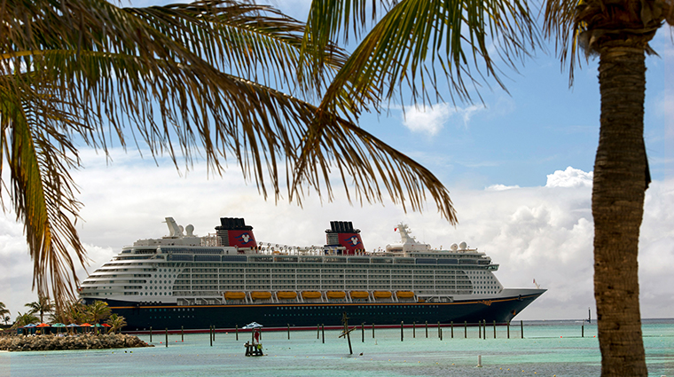 disney cruise line docked between trees