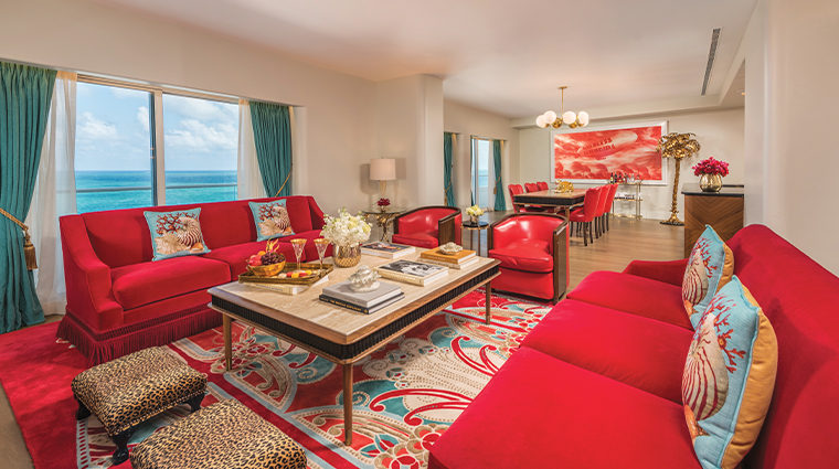 faena hotel miami beach Premier Oceanfront 3 Bedroom Living Room