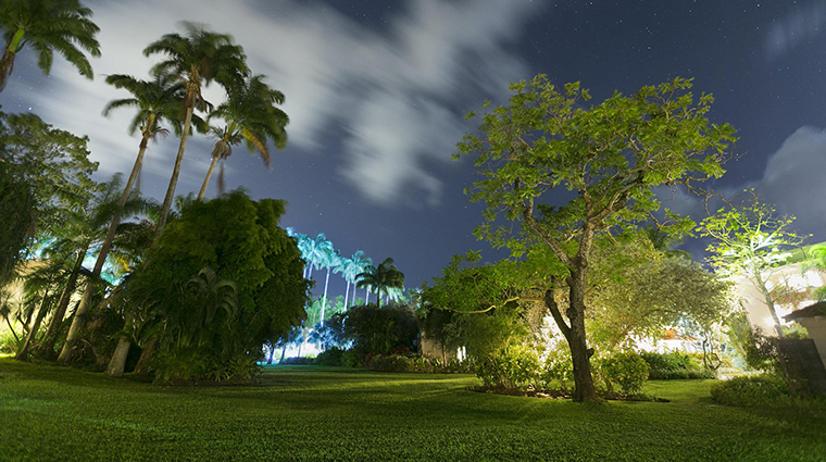 fairmont royal pavilion barbados tropical garden night