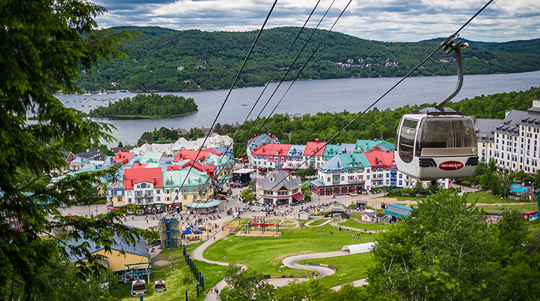 Fairmont Tremblant village hotel at top gondola summer