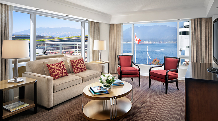 fairmont waterfront vancouver sea to sky suite living room