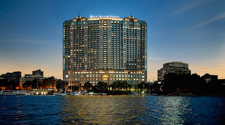 four seasons hotel cairo at nile plaza exterior night