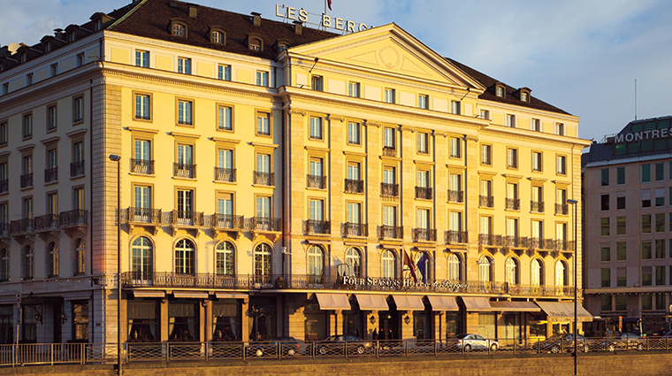 four seasons hotel des bergues geneva exterior sunset