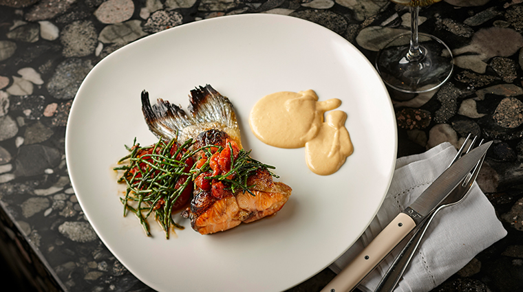 four seasons hotel sydney Pei modern Salmon Tail Samphire and Rouille