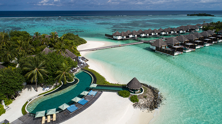 four seasons resort maldives at kuda huraa pool aerial view