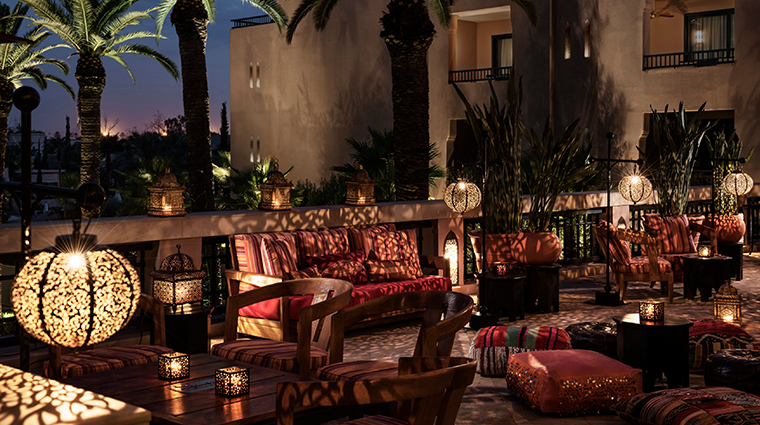 four seasons resort marrakech nightime terrace