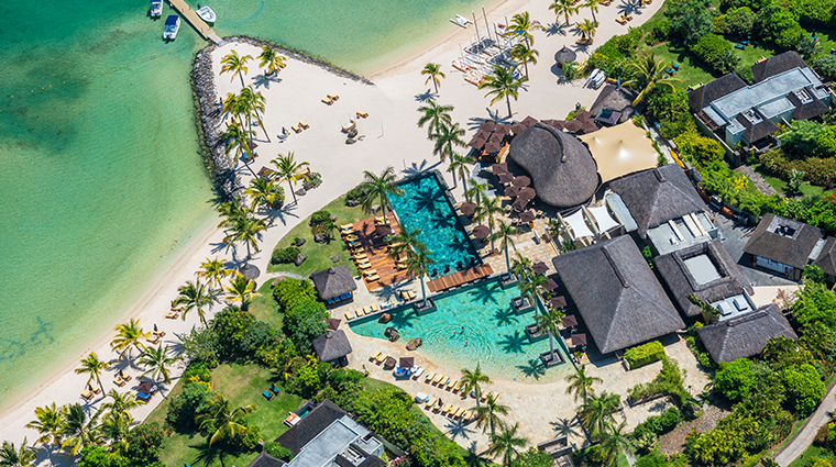 four seasons resort mauritius at anahita aerial from above