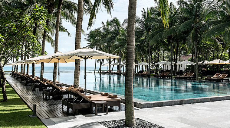 four seasons resort the nam hai hoi an pool loungers