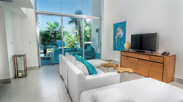 gansevoort dominican republic playa imbert two bedroom living area