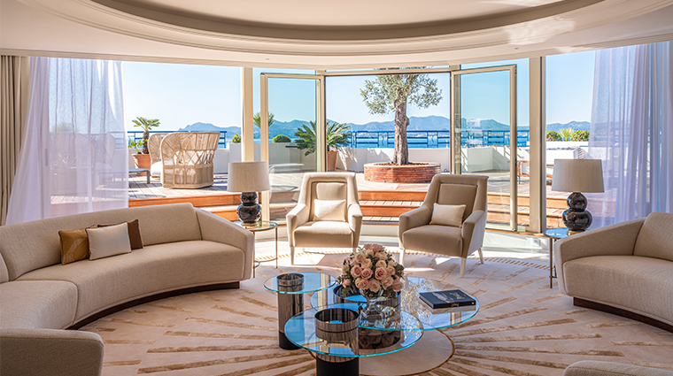 hotel martinez suite penthouse living room view