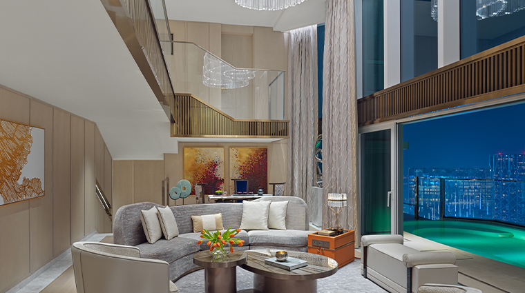 grand suites at four seasons hotel macao cotai strip living room night