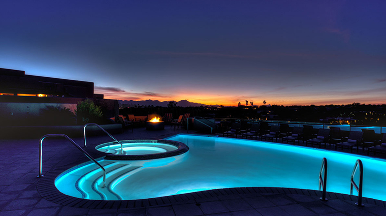 hacienda del sol guest ranch resort pool at night