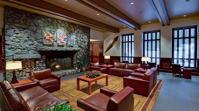 hotel alyeska lobby fireplace